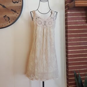Pinky Boho Macrame Lace Dress